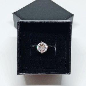 Diamonique 100-Facet 2 ct Solitaire Ring 14K Gold